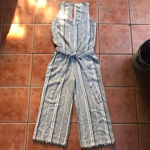 Anthro Cloth & Stone Striped Wide Leg Jumpsuit S